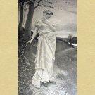 Beautiful Demure Victorian Woman Walking Down Path Antique Print