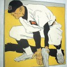 Vintage Calendar Artwork-Baseball Player Practicing Catcher
