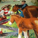 **REDUCED**1913 Sweet Girl In Red Feeding Apple to Horses,Boy Watches