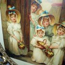 **REDUCED**Antique 5 Sweet Young BRIDESMAIDS with flower baskets-Oval Metal Frame