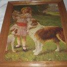 **REDUCED**Sweet Vintage Large Flawed Print-Girl,Collie Dog,Picnic Basket