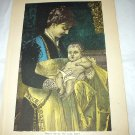 Antique Coloured Engraving-Mother Holding Baby
