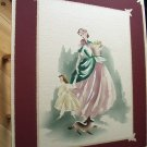 Vintage Airbrushed Watercolor Lady with Child-Signed GUILD