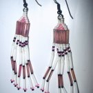 Pink and White Beaded Long Hanging Earrings-Native American Style