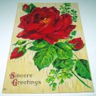 Lovely Antique UNUSED Postcard-Sincere Greetings-Red Rose