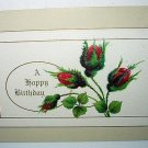 Lovely UNUSED Antique Postcard-Bud Roses A Happy Birthday