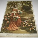 Victorian Beauty in Flower Garden-USED 1900s Postcard