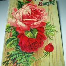 Cabbage Roses Used 1912 Postcard-Wishes Sincere