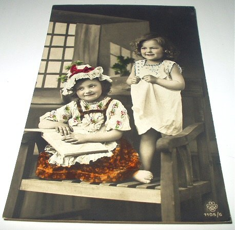 1910 Used Postcard-Two Sweet Little Girls Smiling-Real Photo