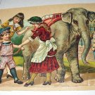 Antique Die Cut Larger Scrap-Children,Circus Elephant