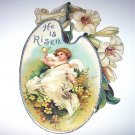 Antique Diecut-He Is Risen-Angel holding butterfly,white lily flowers