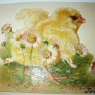 Vintage Easter Embossed Diecut-Cute Baby Yellow Chick with Daisy Flowers