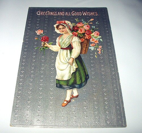 Unused Germany Postcard-Sweet Girl with hat,Basket of Roses on her back