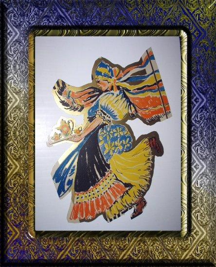 LARGE Vintage Diecut Image-Peasant Woman Dancing