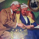 J.F.KERNAN Vntg Lithograph-Old Couple Reminising over family album-RARE image