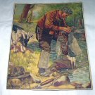 J.F.Kernan-A Pair Of Boots-Vintage Lithograph Print-Man Fly Fishing,Billy Goat,Wet Boots