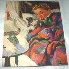 J.F.KERNAN-Young Boy,Dog In Bed,Alarm Clock Ringing-Vntg Magazine Artwork