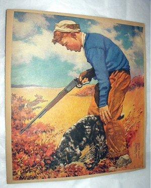 J.F.KERNAN-Young Boy Hunting with rifle,Springer Spaniel Dog-Vntg Magazine Artwork