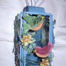 Blue Painted Hanging Candle Holder-Handpainted Crackle Birds and Flowers