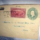 Posted 1898 Stamped Embossed Stamp Envelope,J.D.Seeberger,Iowa to J.A.Dubuar Mfg.Northville,Michigan