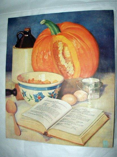 Marion Powers-Vintage Magazine Artwork print-Cooking Pumpkin Pie-Kitchen Ingredients