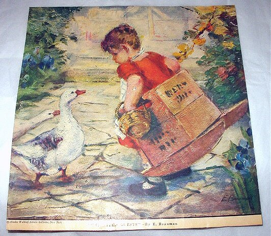 E.Beauman-Uninvited Guests-Sweet Little Girl Approached by two Geese