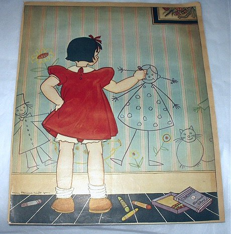 Mary Sherwood Wright Jones-Vintage Magazine Page Artwork-Young Girl Drawing Pictures on Walls