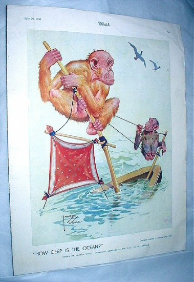 Lawson Wood-1933 Large Lithograph Print by The Sketch-How Deep Is The Ocean! Monkees on Boat