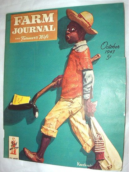 1943 Farm Journal Magazine Cover Only-Black Boy with shovel-Artist: Kraczkowski