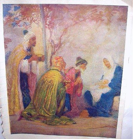 Three Wisemen Bringing Gifts To The Newborn King-Vintage print