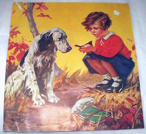 Hy Hintermeister-Vintage Magazine Artwork-Little Girl Holding Bird,Springer Spaniel Dog
