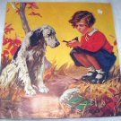 Hy Hintermeister-Vintage Magazine Artwork-Little Girl Holding Bird,Springer Spaniel Dog