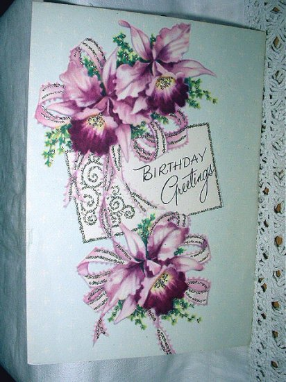 Vintage Birthday Greeting Card-Lovely Purple Orchids