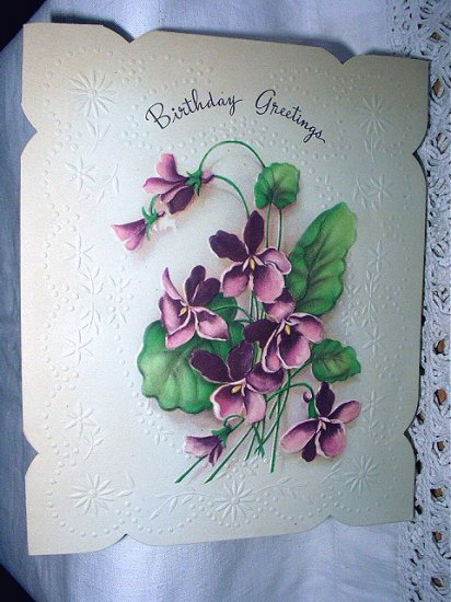 Unused Vintage Birthday Greeting Card-Embossed Purple Violets