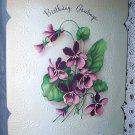 Unused Vintage Birthday Greeting Card-Embossed Purple Violets