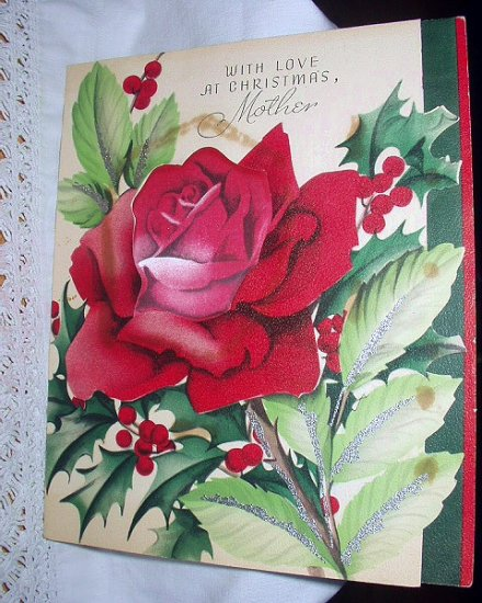 Gorgeous Larger Vintage Greeting Card-Deep Red Rose-Christmas to Mother