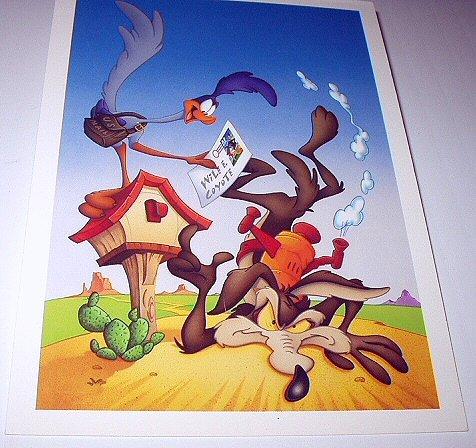 Commemorative Unused Postcard-Looney Tunes Wilie Coyote & Road Runner Stamp