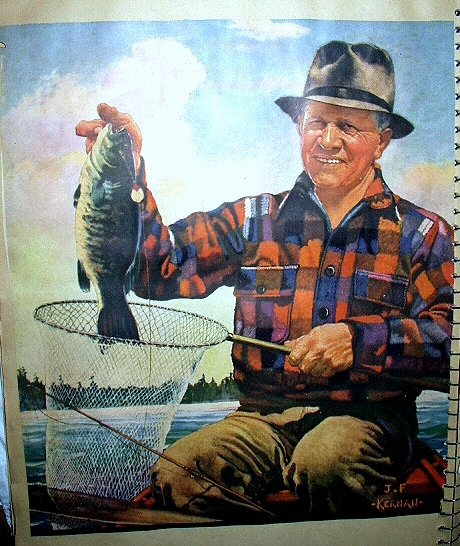 KERNAN Artwork Print-Older Man Fishing, Caught Fish