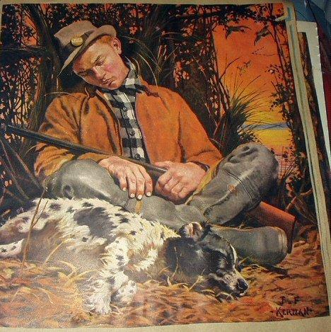 Kernan Magazine Artwork-Young Man Sleeping,His Hunting Dog Too!