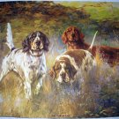 Three Hunting Dogs-On The Scent-Original Vintage 1939 Lithograph Print