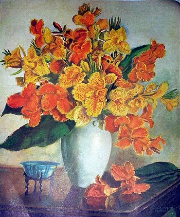 Beautiful Floral Arrangement,Yellows,Oranges Cannas and Iris Flowers-GRACE CHURCHILL SARGENT