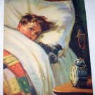 J.Adams-Sweet Little Boy in bed with pet puppy dog-Original Vintage Lithograph Print