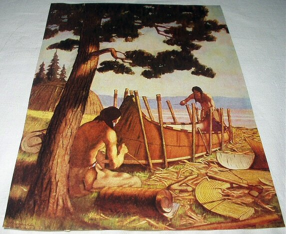 Native American Indians Building A Canoe By The Ocean