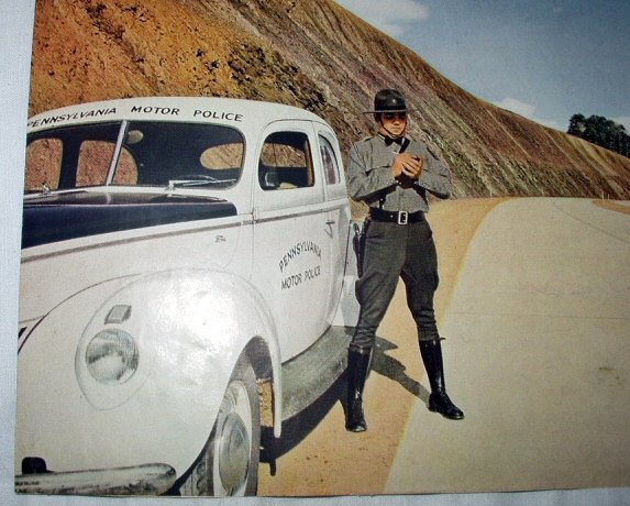 Vintage Print-Pennsylvania Motor Police Officier by highway
