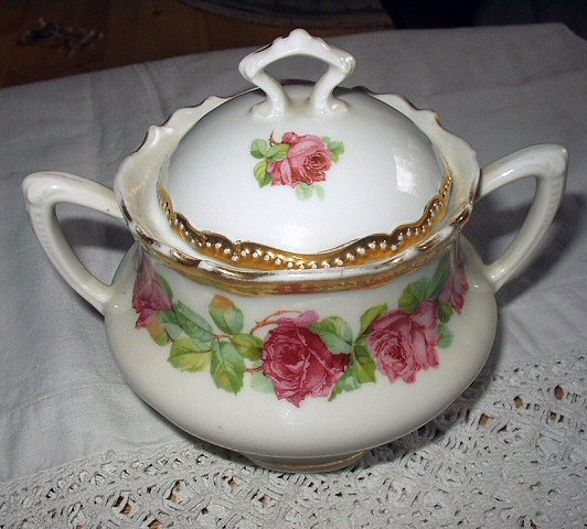 **REDUCED** Antique Double-Handled Sugar Bowl with Lid-Lovely Gold Gild and Roses-P.K.Silesia