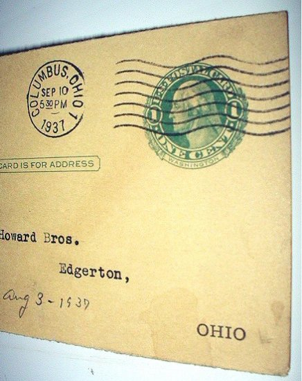 Mailed 1937 Postal Card-One Cent Washington-Workman's Compensation