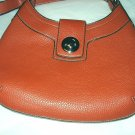 Great Short Handled Orange Leather Purse,Metal clicking lock