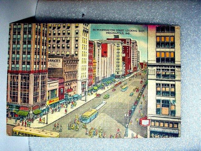 Linen Unused Post card-Washington Street,Indianapolis,Indiana
