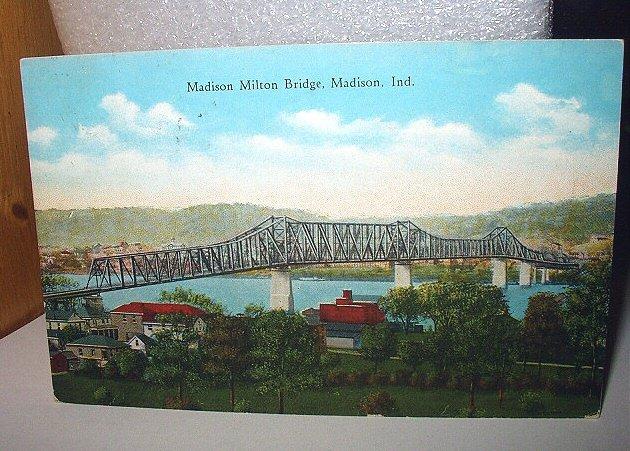 Used 1934 Postcard-Madison Milton Bridge,Madison, Indiana-Mailed to Muncie, Ind.