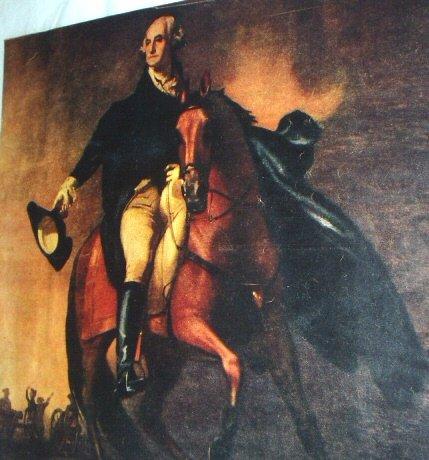 George Washington Riding on Brown Horse-Colorful Illustration